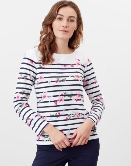 Joules Harbour Print Long Sleeve Jersey Top Cream Floral Stripe