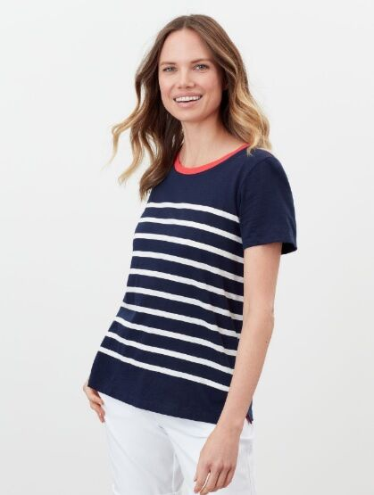 Joules Carley Classic Crew T-Shirt French Navy Cream Stripe