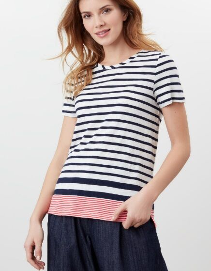 Joules Carley Stripe Classic Crew Navy Cream Red