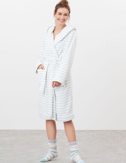 Joules Rita Fluffy Dressing Gown Light Blue Cream Stripes