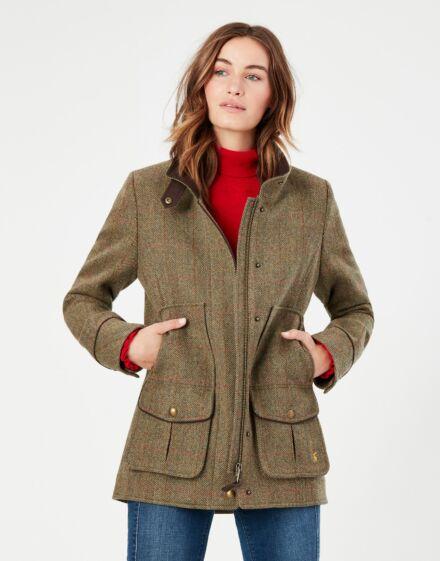 Joules Fieldcoat Tweed Coat Green Tweed