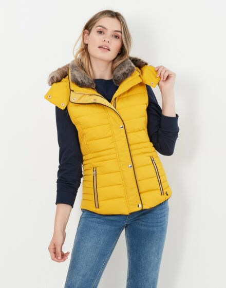 Joules Melford Padded Gilet with Faux Fur Trim Antique Gold