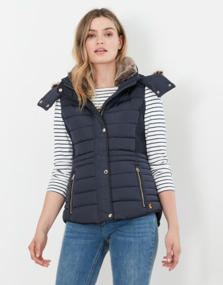 Joules Melford Padded Gilet with Faux Fur Trim Marine Navy