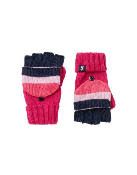 Joules Bobble Coverter Gloves Pink Oxford