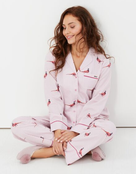 Joules Sleeptight Pyjama Set Pheasant Pink Stripe
