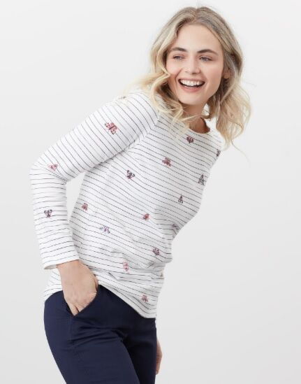 Joules Harbour Print Long Sleeve Jersey Cream Butterfly Stripe