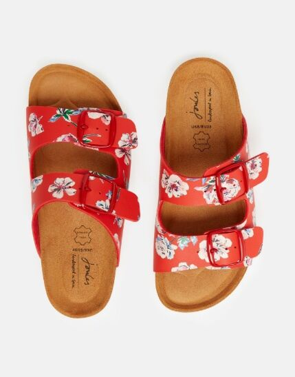 Joules Penley Printed Slider Sandals Red Floral