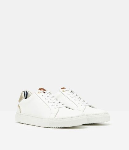 Joules Cupsole Classic Trainers White/Gold