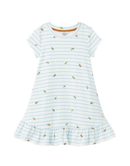 Joules Allie Peplum Dress Blue Stripe Bee