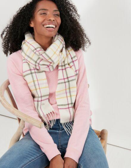 Joules Fairwell Checked Wool Scarf Cream Check