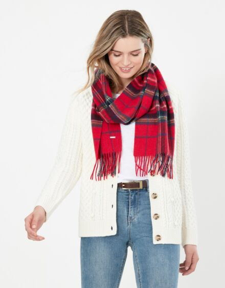Joules Fairwell Checked Wool Scarf Navy Red Check