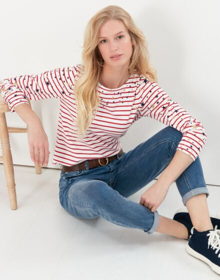 Joules Harbour Print Long Sleeve Jersey Top Cream Red Stripe