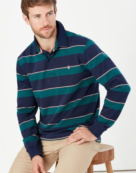 Joules Onside Rugby Shirt Green Pink Stripe