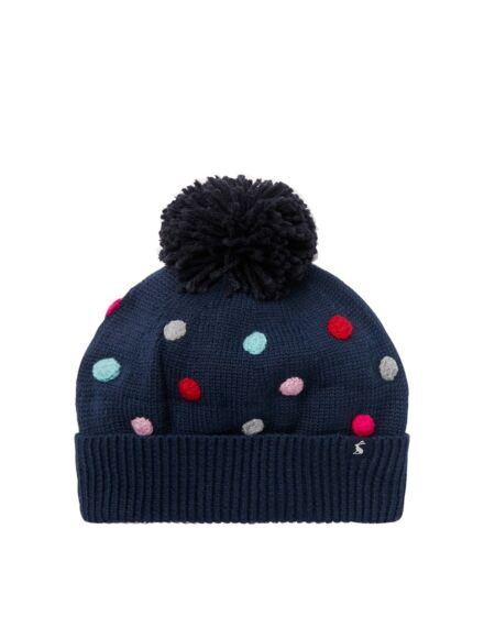 Joules Bella Pom Pom Knitted Hat French Navy