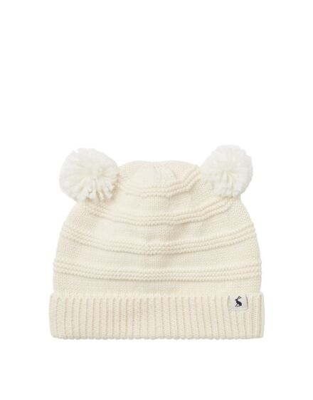 Joules Pom Pom Knitted Hat Cream