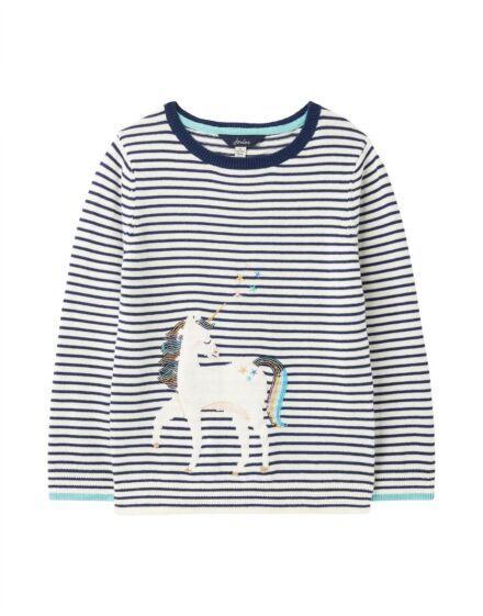 Joules Miranda Intarsia Jumper Stripe Unicorn