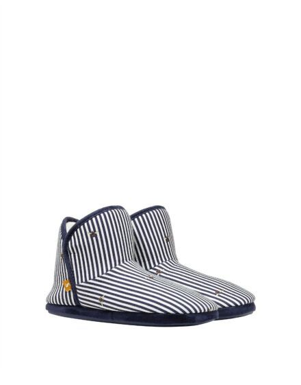 Joules Cabin Faux Fur Slippers Bee Stripes