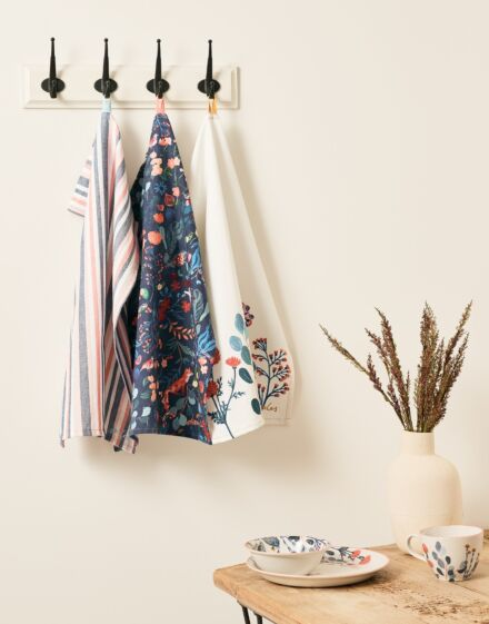 Joules Country Cottage Tea Towels Pack Of 3 Floral