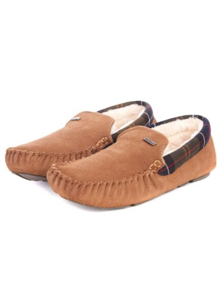 Barbour Monty Moccasin Slippers Camel Suede