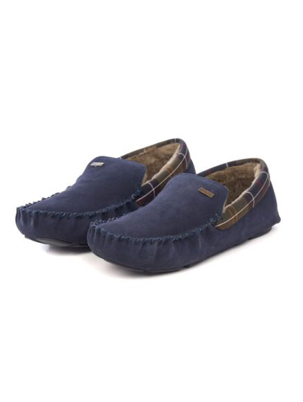Barbour Mens Monty Moccasin Slippers Navy Suede