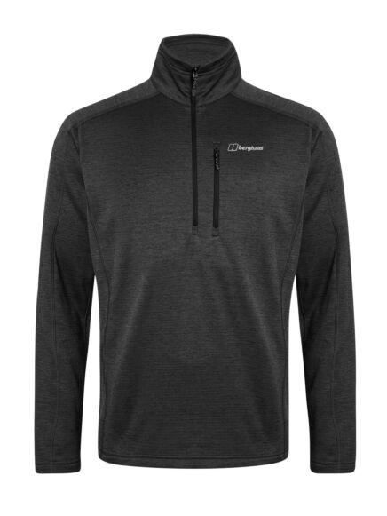 Berghaus Men's Spitzer Half Zip Fleece Jet Black/Grey Pinstripe
