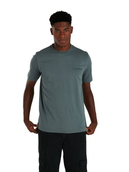 Berghaus Men's Organic Colour Block Logo T-Shirt Dark Green