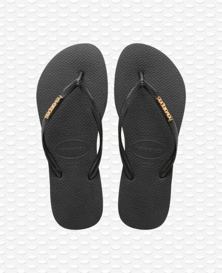 Havaianas Slim Logo Metallic Flip Flops Black/Gold