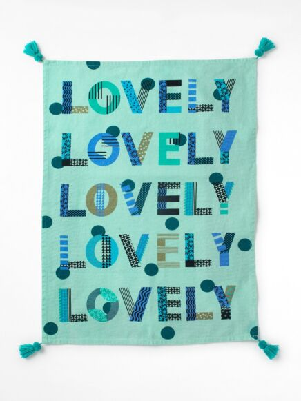 White Stuff Lovely Lovely Lovely Tea Towel Mint