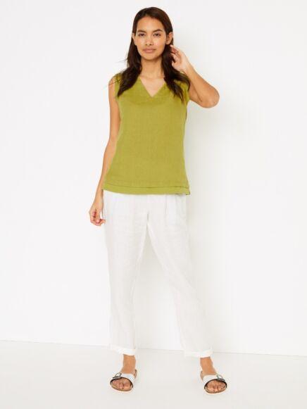 White Stuff Anu Linen Vest Pea Green