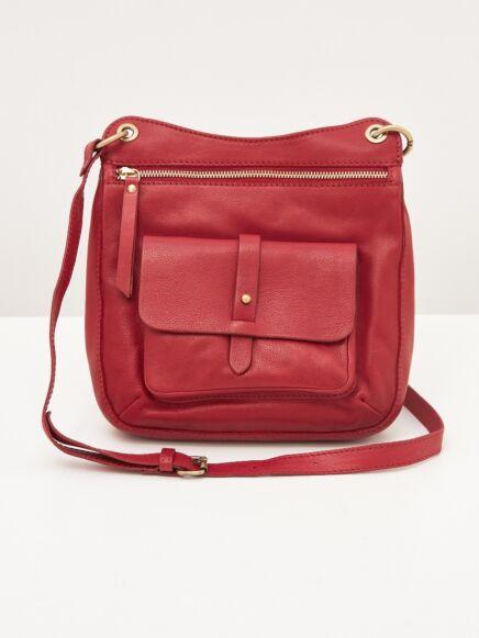 White Stuff Aspen Leather Crossbody Bag Deep Red