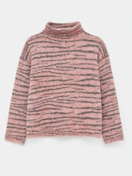 White Stuff Animal Stripe Jumper Pink Multi
