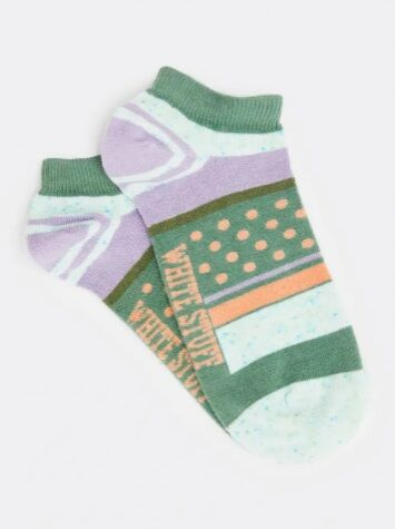 White Stuff Neppy Stripe Trainer Socks Green Multi