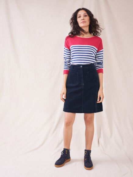 White Stuff Melody Organic Cord Skirt Dark Navy
