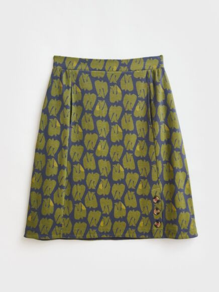 White Stuff Ferna Fairtrade Jersey Skirt Charteuse Multi