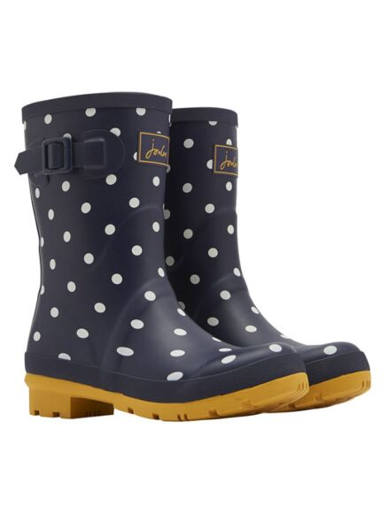 Joules Molly Mid Height Printed Wellies Navy Spot