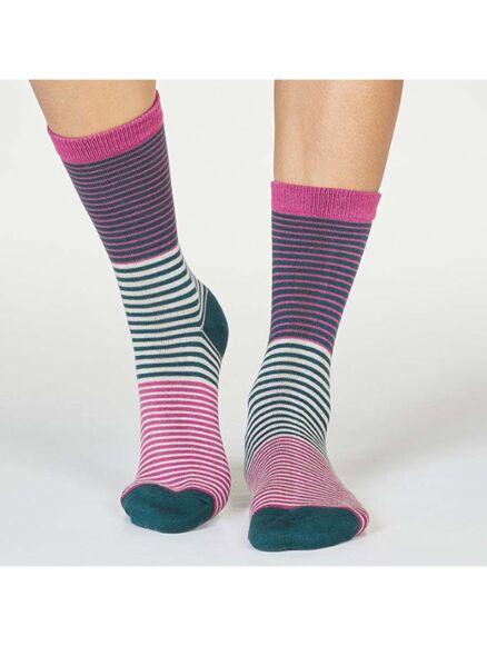 Thought Katleen Bamboo Organic Cotton Stripe Socks Violet Pink