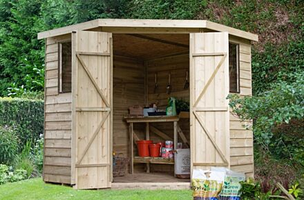 Forest Gardens Overlap Pressure Treated 7x7 Corner Shed