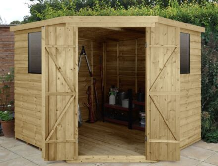 Forest Gardens Overlap Pressure Treated 8x8 Corner Shed
