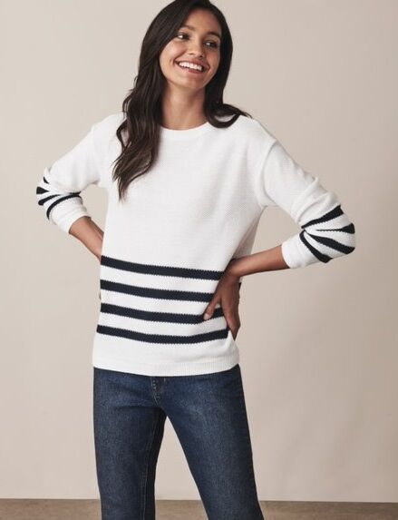 Crew Clothing Austell Jumper Cloud Stripe