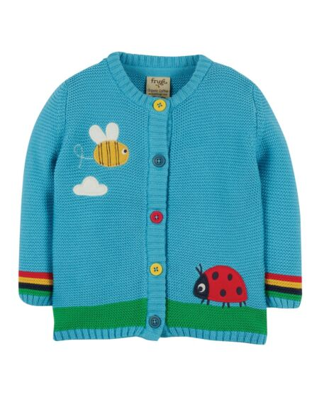 Frugi Cuddly Knitted Cardigan Mid Blue Bee