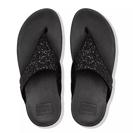 Fitflop Lulu Glitter Toe-Post Sandals Black