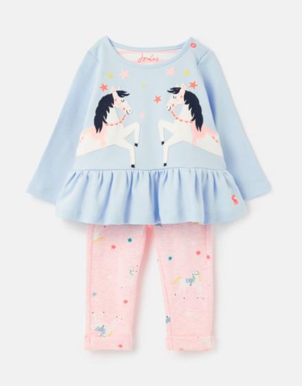 Joules Baby Olivia Applique Set Blue Unicorn