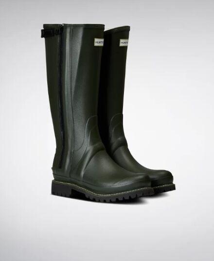 Hunter Men's Balmoral Leather Lined Full Zip Boots Dark Olive