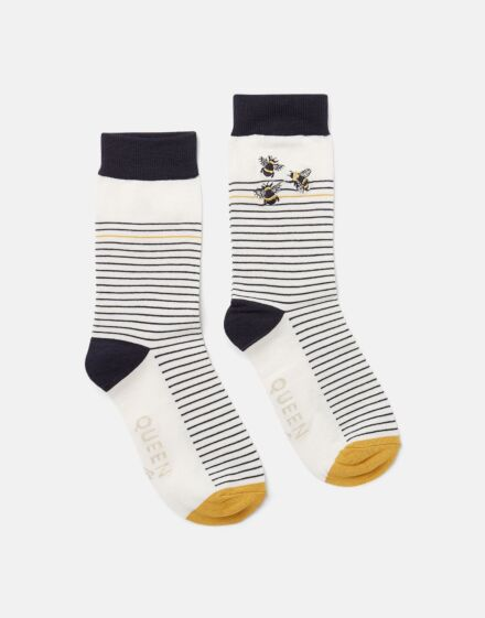 Joules Brilliant Bamboo Embroidered Socks Bee Stripe