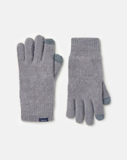 Joules Bamburgh Knitted Gloves Grey Marl