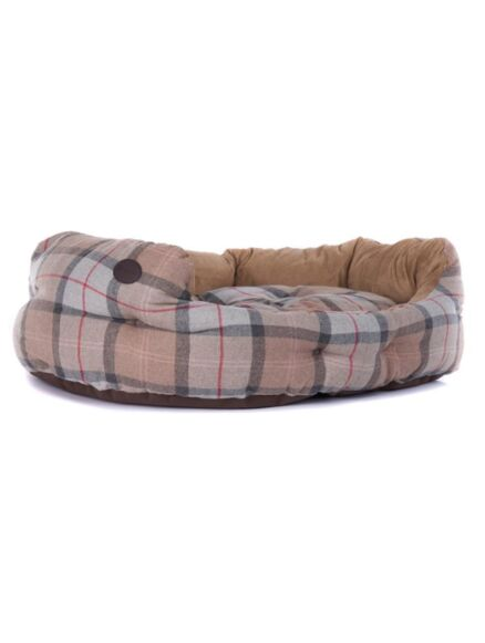 Barbour 30in Luxury Dog Bed Taupe/Pink Tartan