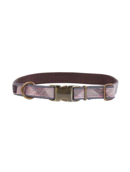 Barbour Reflective Tartan Dog Collar Taupe/Pink Tartan