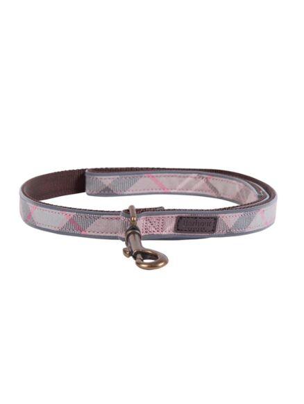 Barbour Reflective Tartan Dog Lead Taupe/Pink Tartan