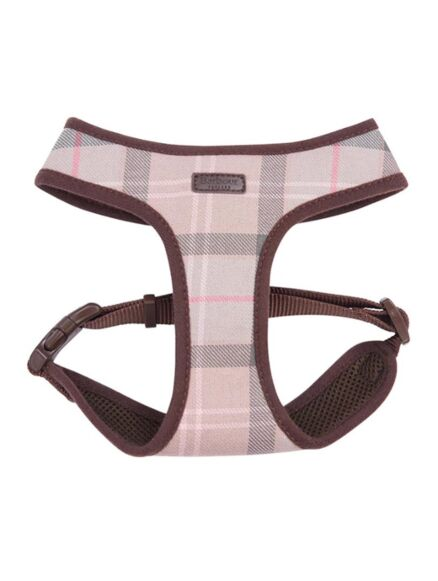 Barbour Tartan Dog Harness Taupe/Pink