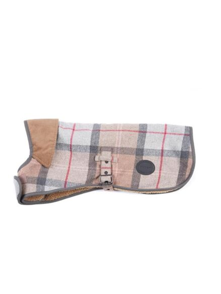 Barbour Wool Touch Dog Coat Taupe/Pink Tartan